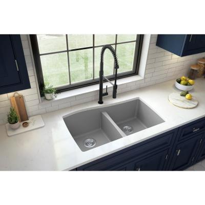 Undermount Quartz Composite 33 in. 50/50 Double Bowl Kitchen Sink in Grey