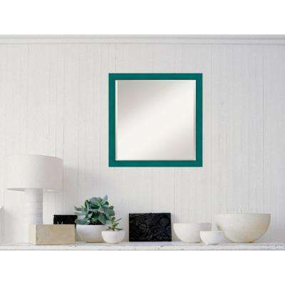 French Teal Rustic Wood 22 in. W x 22 in. H Distressed Framed Mirror