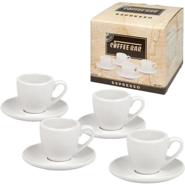 08531f6d5c undefined Konitz 8-Piece White Coffee Bar #1 Porcelain Espresso Cup and Saucer  Sets