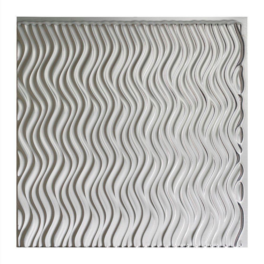 Current Vertical - 2 ft. x 2 ft. Glue-up Ceiling Tile in Brushed Aluminum