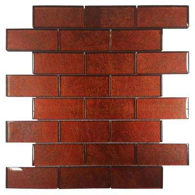 Folia Tamarind 12 in. x 12 in. x 6.35 mm Red Glass Mesh-Mounted Mosaic Wall Tile (10 sq. ft. / case)