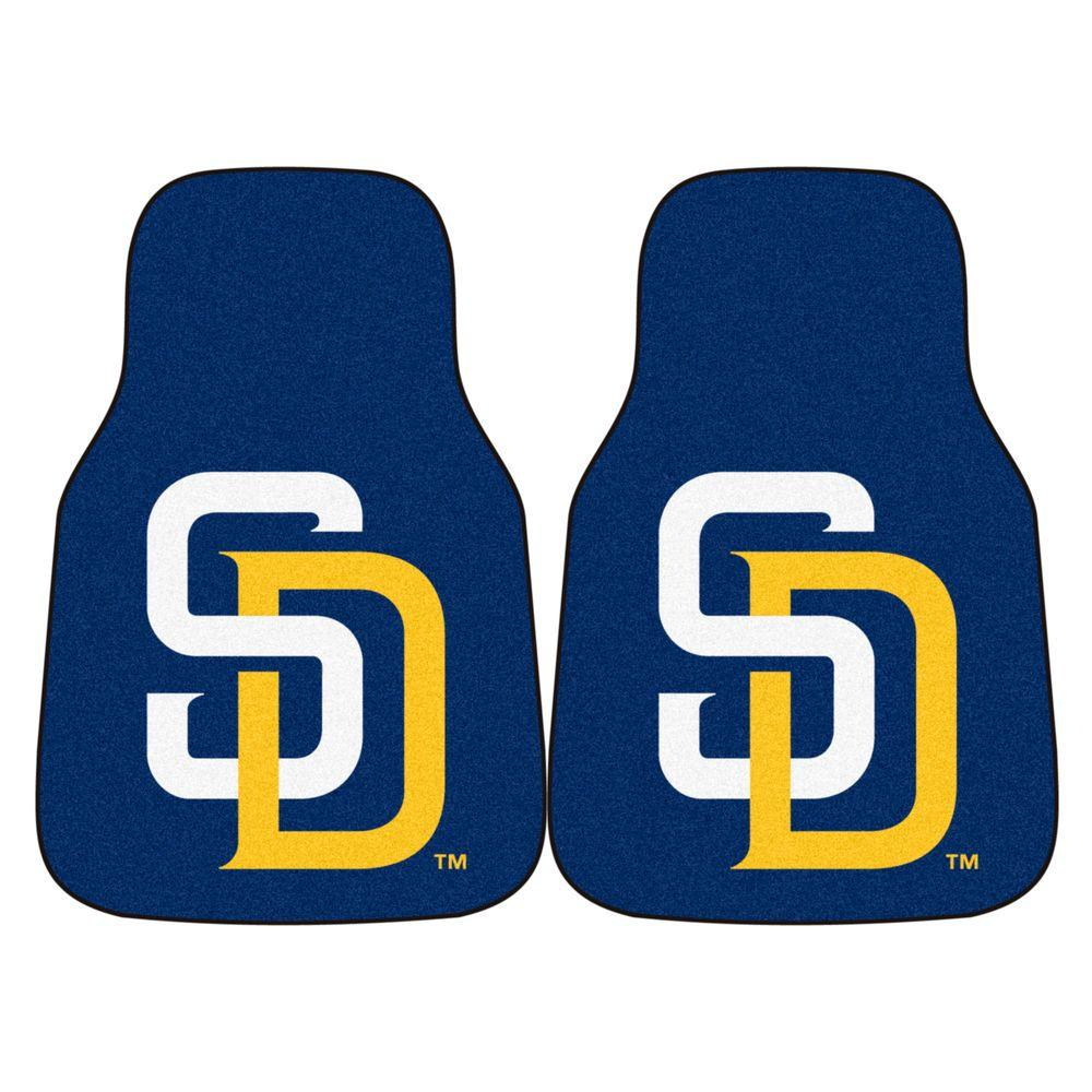 FANMATS San Diego Padres 18 in. x 27 in. 2-Piece Carpeted Car Mat Set