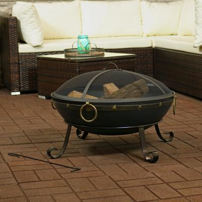 25-Inch Victorian Steel Fire Bowl with Handles and Spark Screen