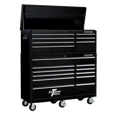 RX Series 56 in. 7-Drawer Top Chest and 11-Drawer Roller Cabinet Combo, Black