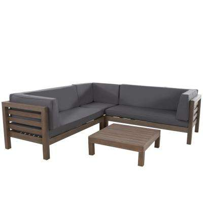 Oana Grey 4-Piece Wood Outdoor Sectional Set with Dark Grey Cushions - Outdoor Sectionals - Outdoor Lounge Furniture - The Home Depot