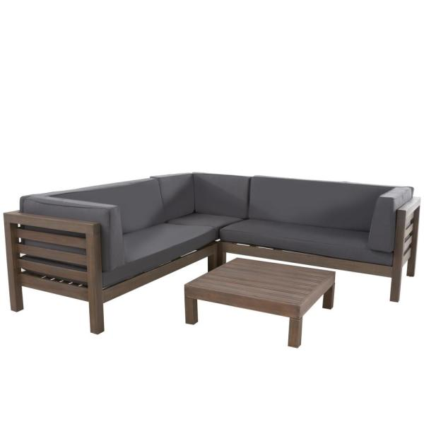 Oana Grey 4-Piece Wood Outdoor Sectional Set with Dark Grey Cushions