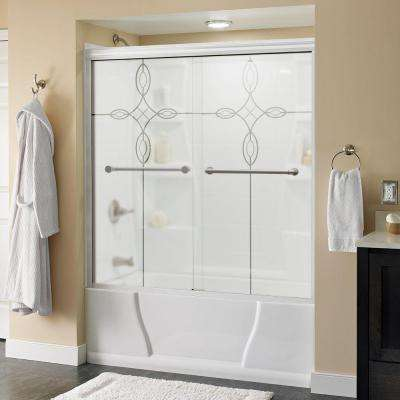 Silverton 60 in. x 58-1/8 in. Semi-Framed Sliding Tub Door in Chrome with Droplet Glass