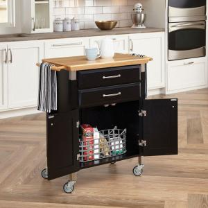 Dolly Madison Black Kitchen Cart With Natural Wood Top