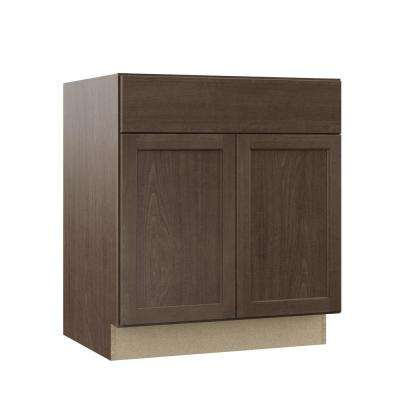 Shaker Assembled 30x34.5x24 in. Base Kitchen Cabinet with Ball-Bearing Drawer Glides in Brindle
