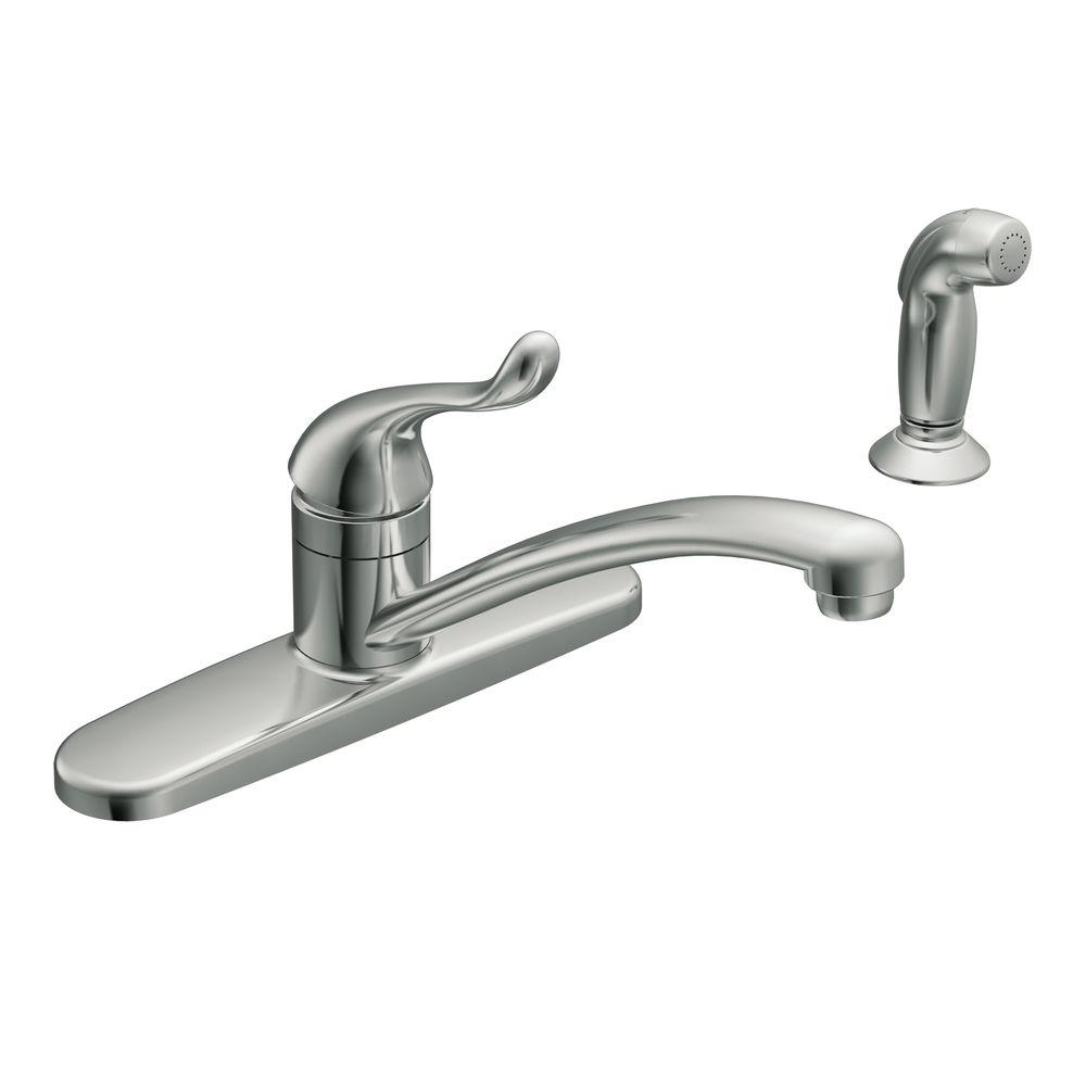 Moen Adler Single Handle Low Arc Standard Kitchen Faucet With Side Sprayer In Chrome Ca87530 The Home Depot