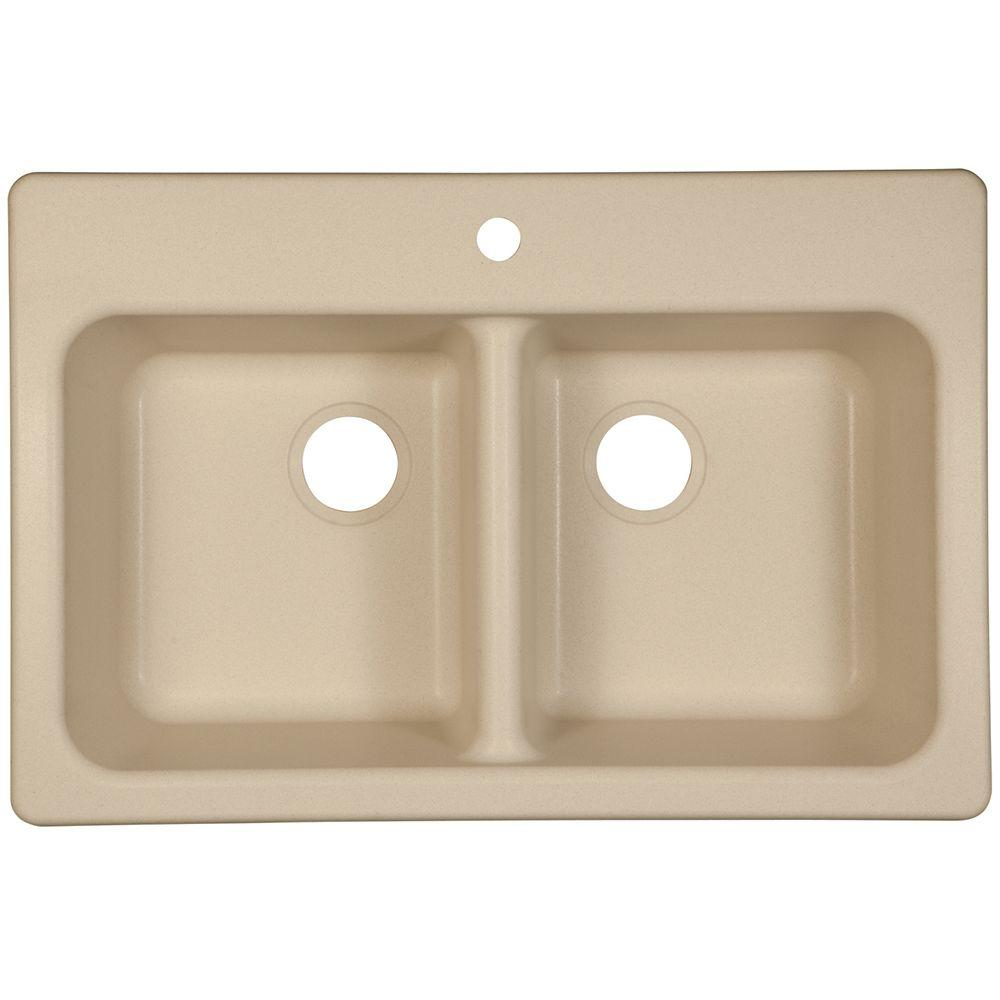 Dual Mount Composite Granite 33x22x8 1-Hole Double Bowl Kitchen Sink in Champagne (Beige)