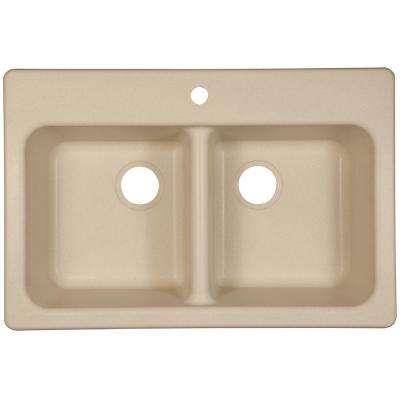 Dual Mount Composite Granite 33.in 1-Hole Double Bowl Kitchen Sink in Champagne