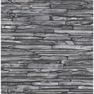 Charcoal Stacked Slate Industrial Wallpaper Sample