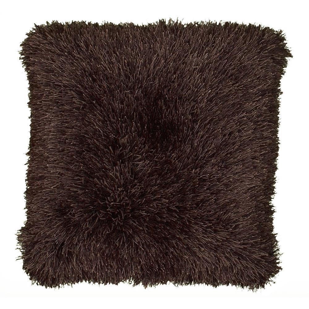 LR Resources 18 in. x 18 in. Tri-Chocolate Square Decorative Indoor Shag Accent Pillow