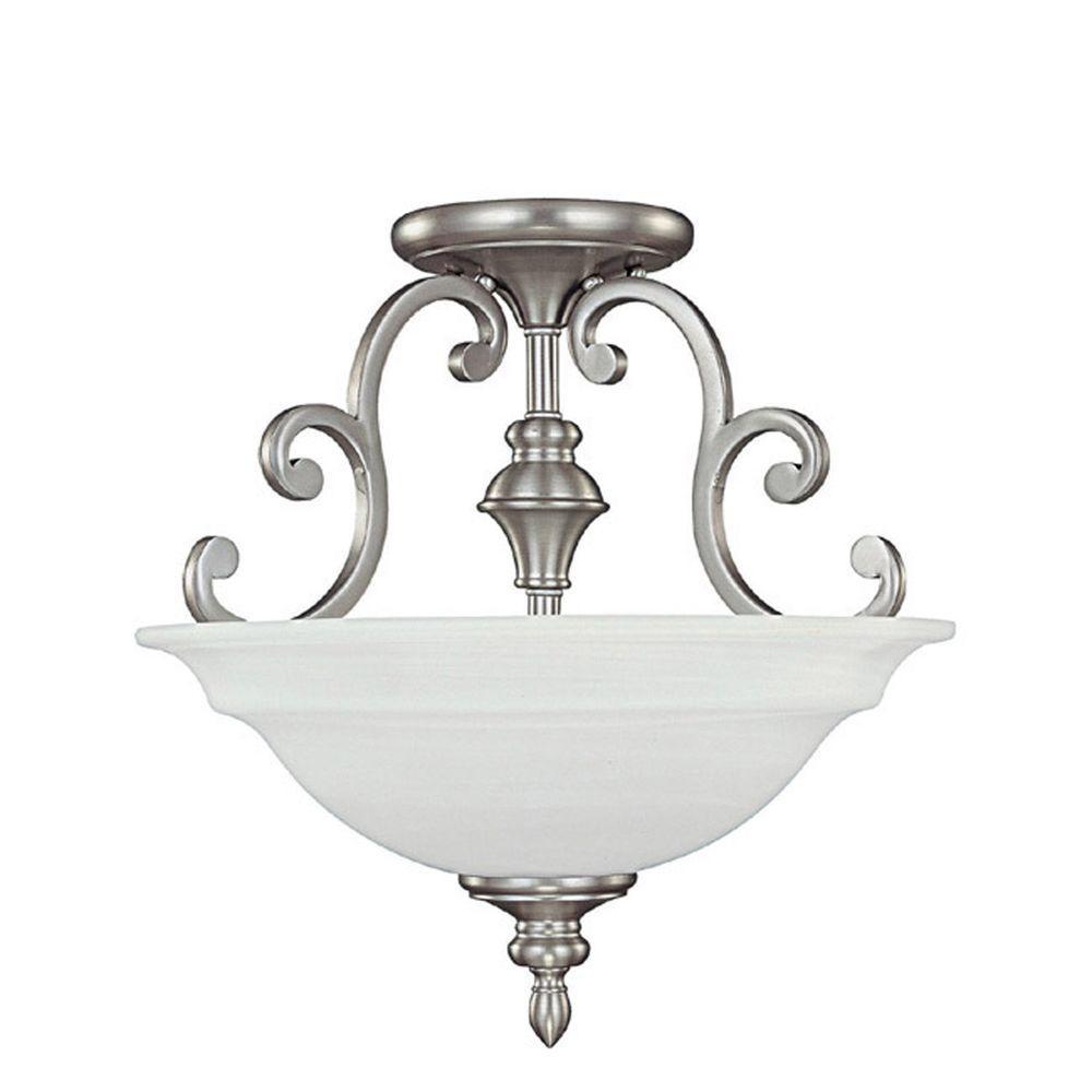 Filament Design 3-Light Matte Nickel Semi-Flush Mount Light with Faux White Alabaster Glass