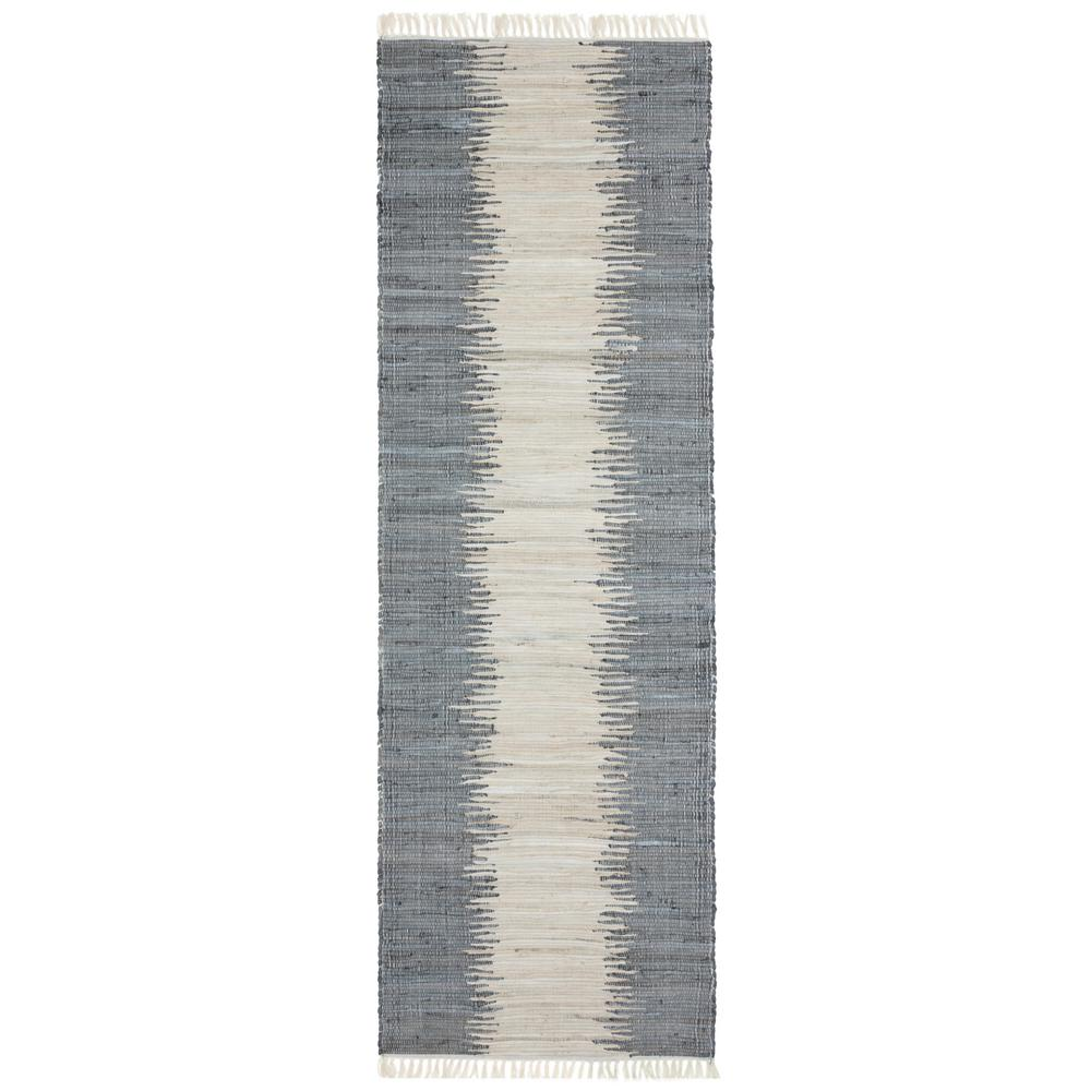 Complex Grey Jagged Chindi 2 ft. 6 in. x 8 ft. Runner Rug