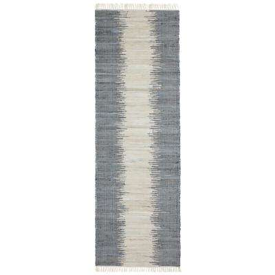 Grey Jagged Chindi 2 ft. 6 in. x 8 ft. Runner