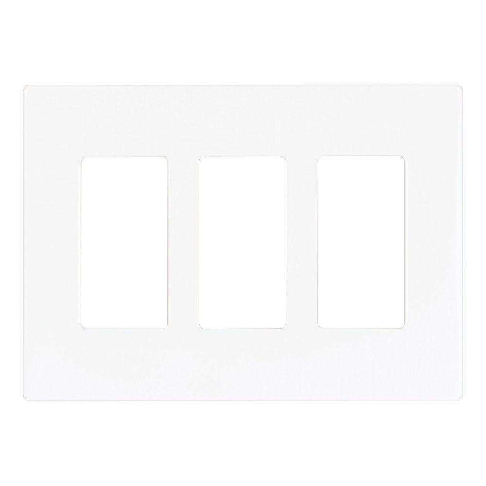 Eaton 3-Gang Screwless Decorator Polycarbonate Wall Plate - White