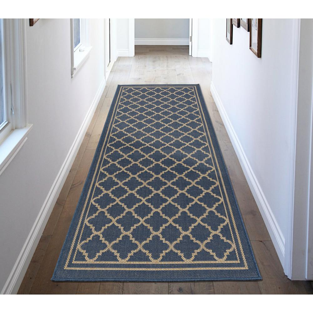 Ottomanson Jardin Collection Moroccan Trellis Design Natural Blue 3 ...