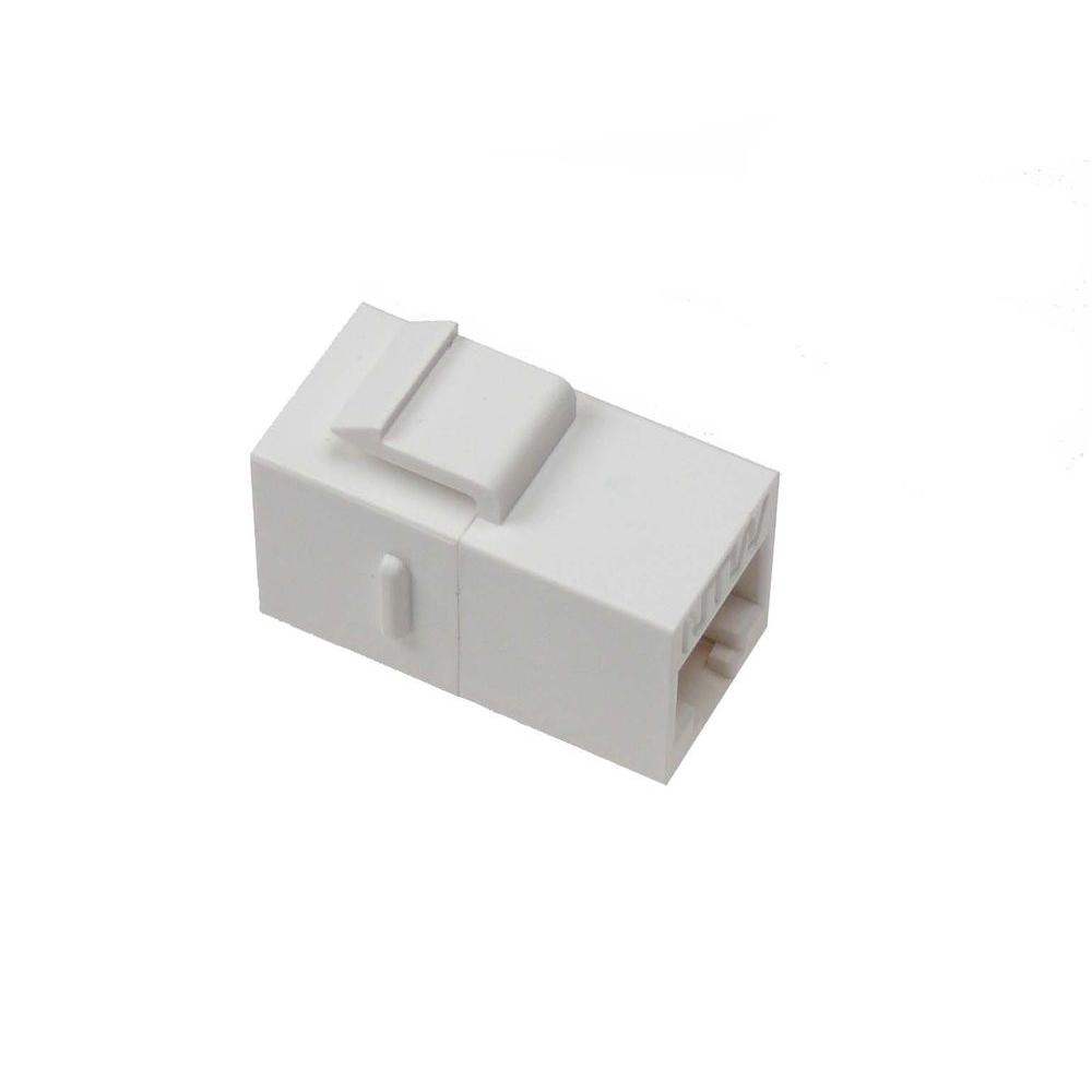 Cat5e F/F Feed-Through Snap-In Keystone Coupler Jack - White