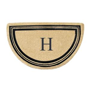 A1HC First Impression Engineered Finlay Half Round 30 inch x 48 inch Coir Monogrammed H... by