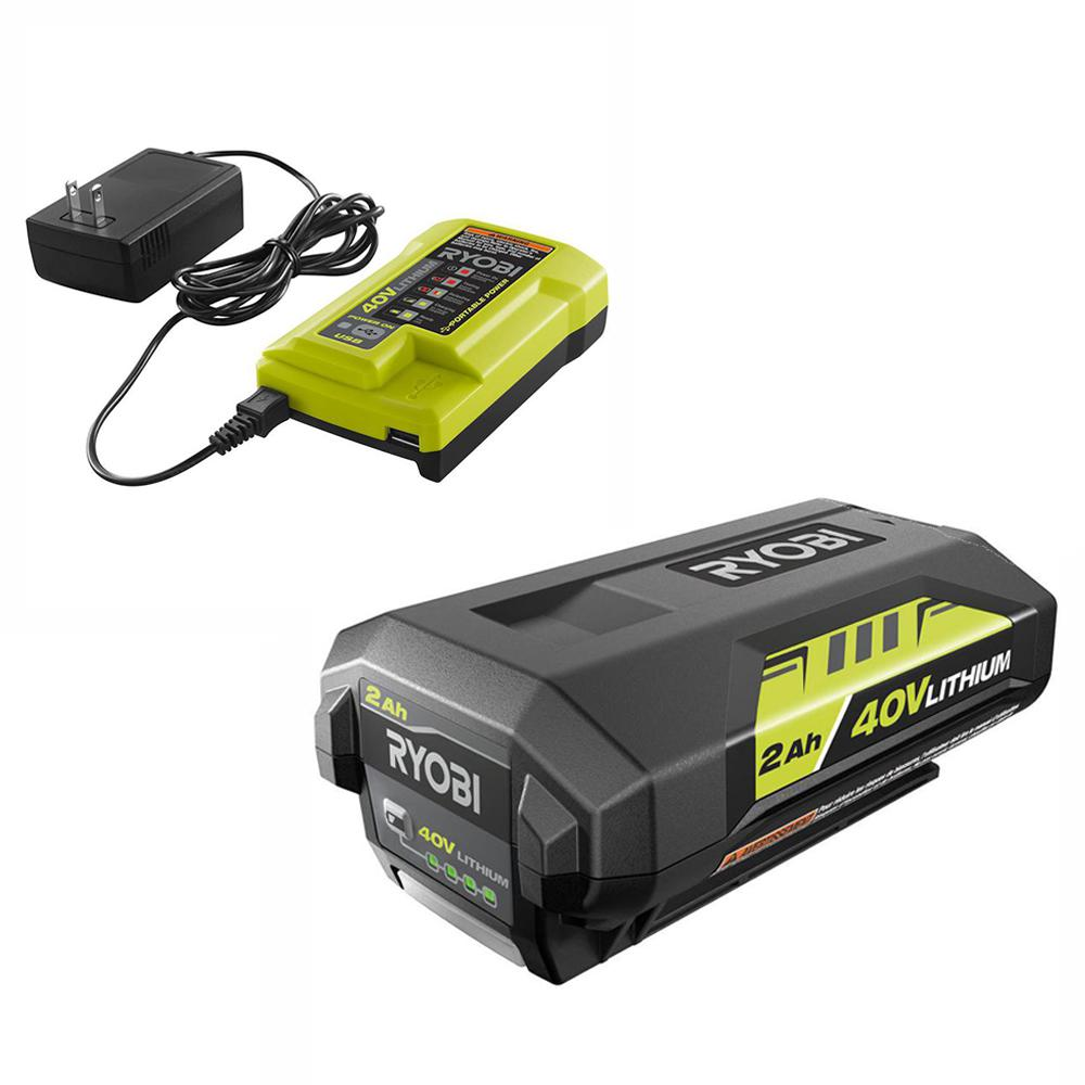 RYOBI 40-Volt Lithium-Ion 2.0 Ah Battery and Charger