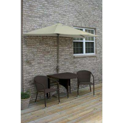 Terrace Mates Adena 5-Piece Java Patio Bistro Set with 9 ft. Antique Beige Olefin Half-Umbrella