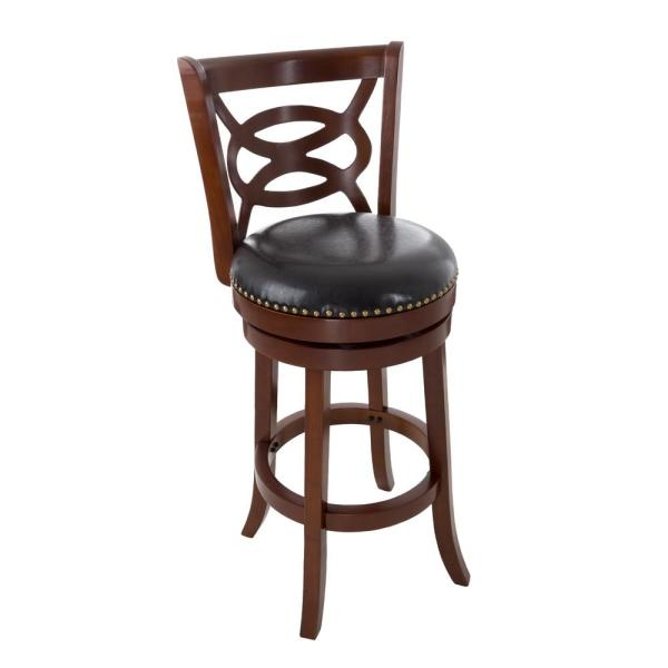 Lavish Home 42.5 in. Dark Brown Wood and Leather Swivel Stool