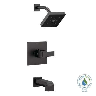 Ara 1-Handle Wall Mount Tub and Shower Faucet Trim Kit in Matte Black with H2Okinetic (Valve Not Included)