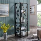 61 in. Slate Gray/Black Metal 4-shelf Etagere Bookcase with Open Back