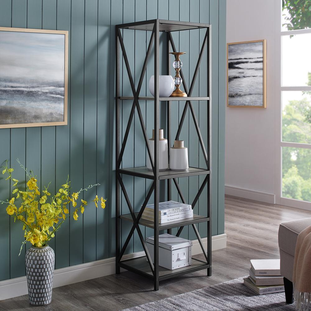 61 in. Slate Grey Urban Industrial Metal Wood Bookcase