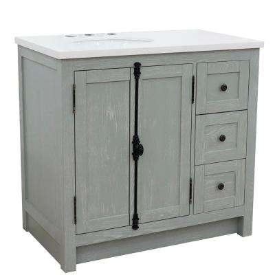 Plantation 37 in. W x 22 in. D x 36 in. H Bath Vanity in Gray Ash with White Quartz Vanity Top and Left Side Oval Sink