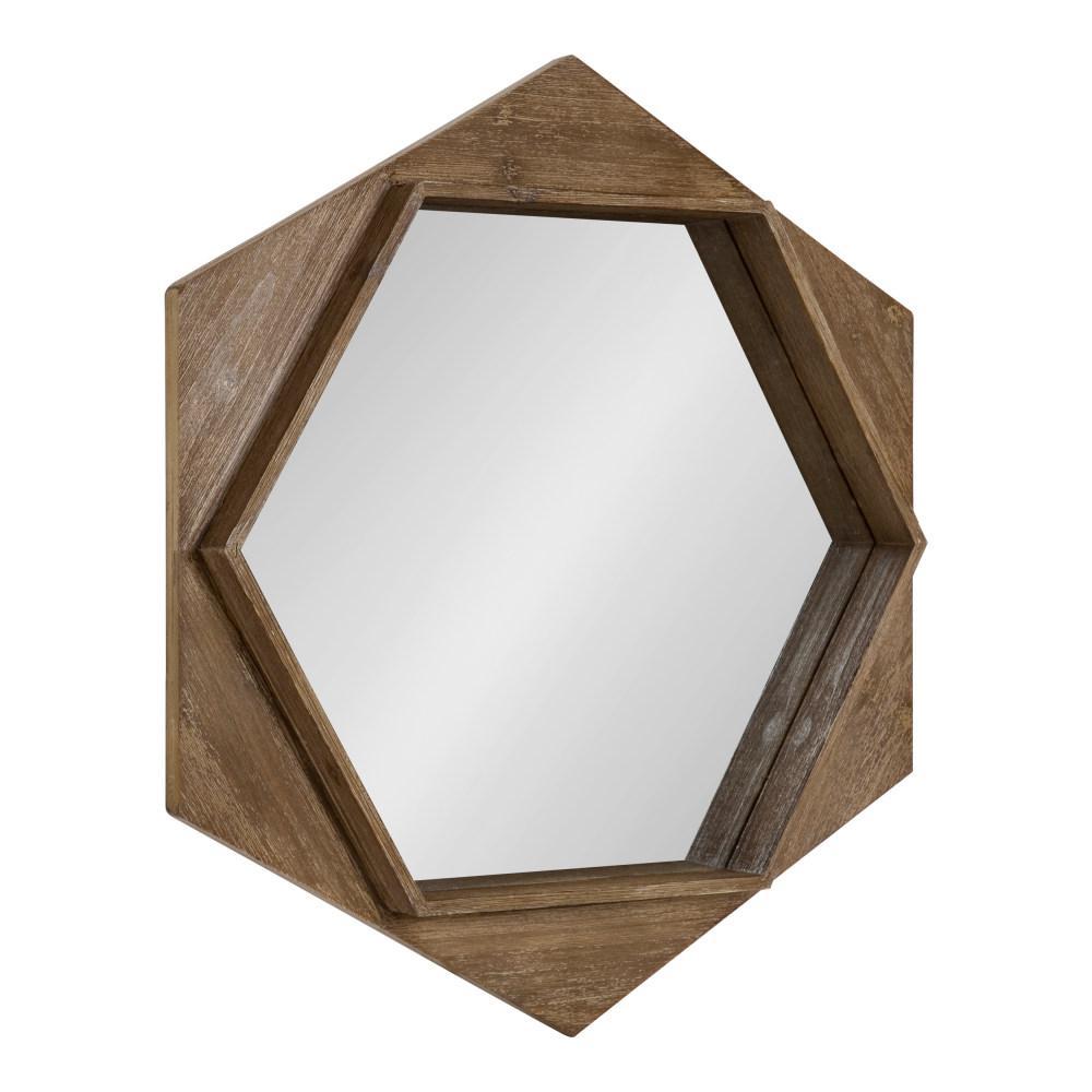 Yandel Hexagon Brown Wall Mirror
