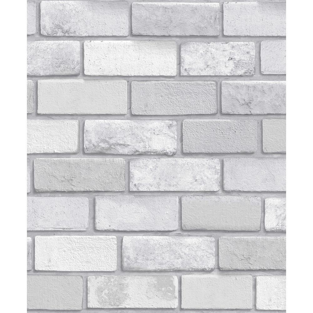 Diamond Silver Brick Vinyl Wallpaper