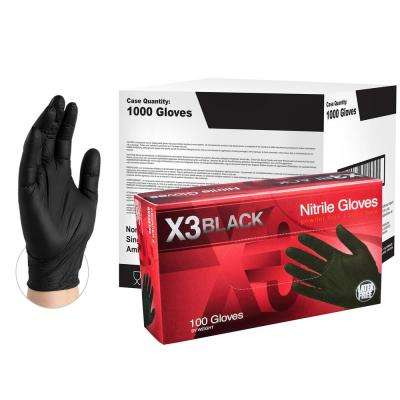 BX3 Black Nitrile Industrial Powder-Free Disposable Gloves (10-Boxes of 100-Count) - Large