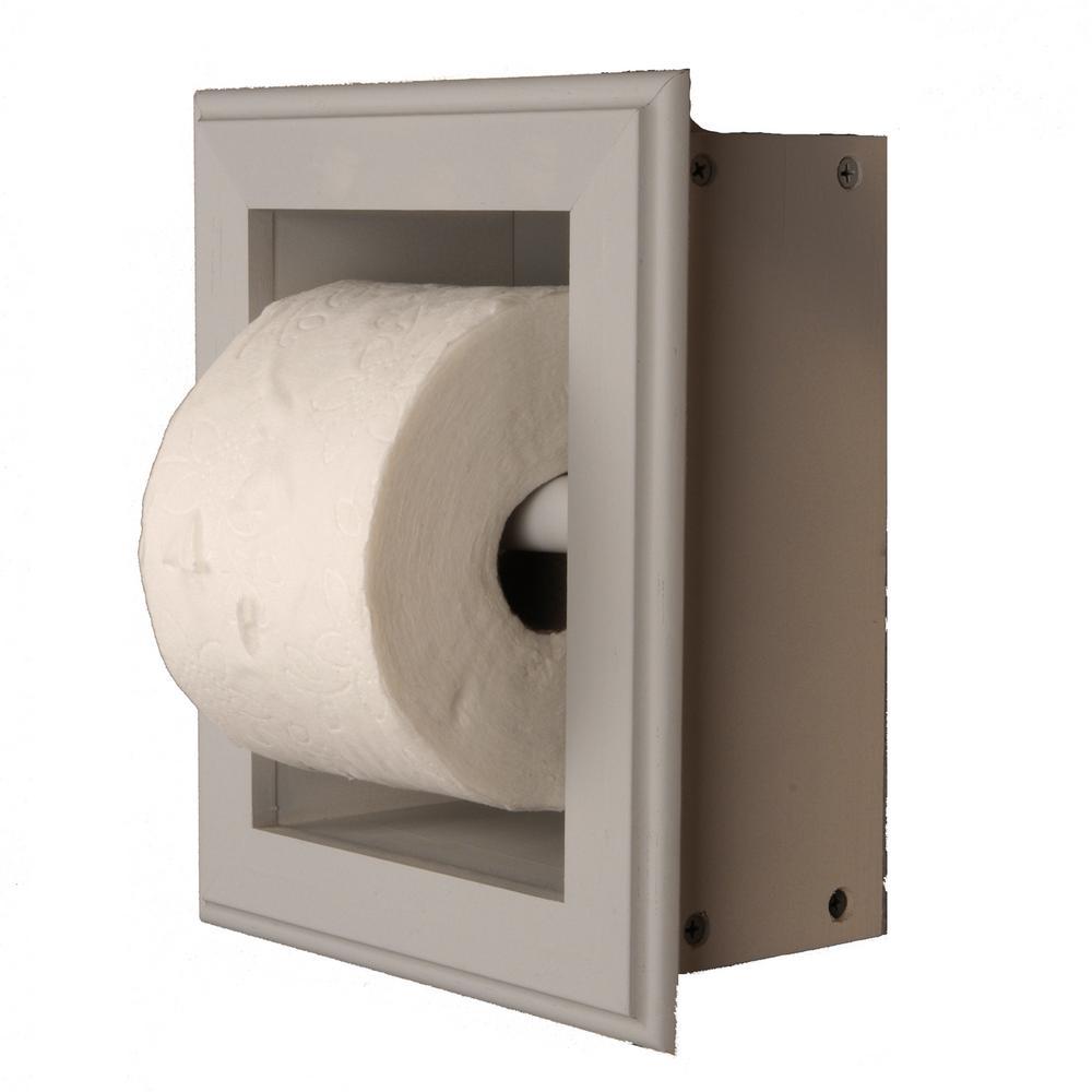 Newton Recessed Toilet Paper Holder 21 Holder in Primed Wall Hugger Frame in Gray
