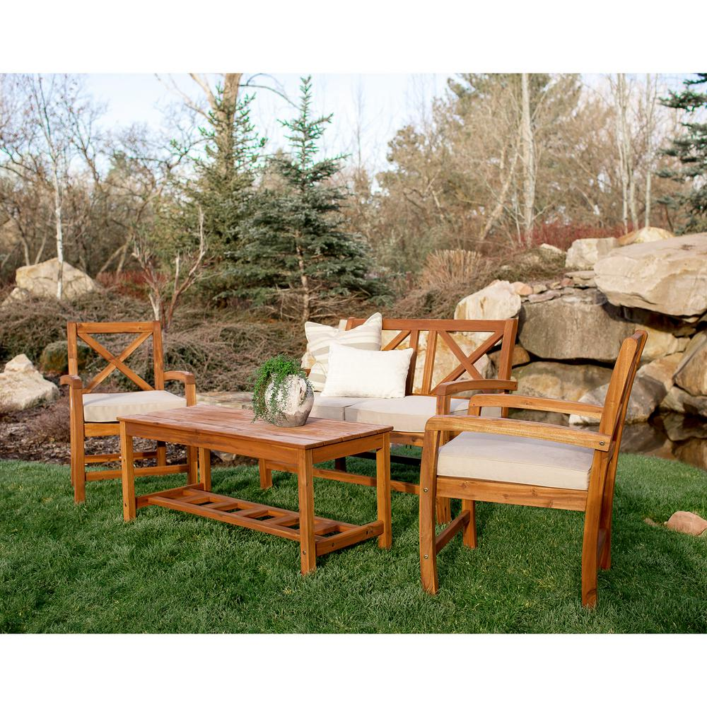 Boardwalk 4 Piece X Back Acacia Patio Conversation Set with White Cushions. Wood Patio Furniture   Patio Conversation Sets   Outdoor Lounge
