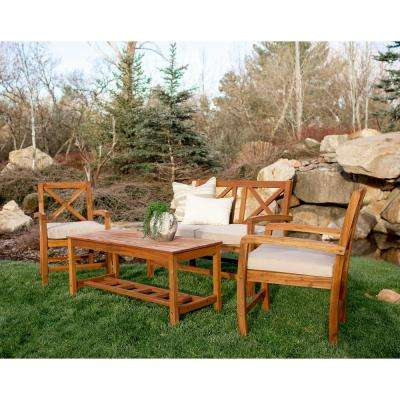Boardwalk 4-Piece X-Back Acacia Patio Conversation Set with White Cushions