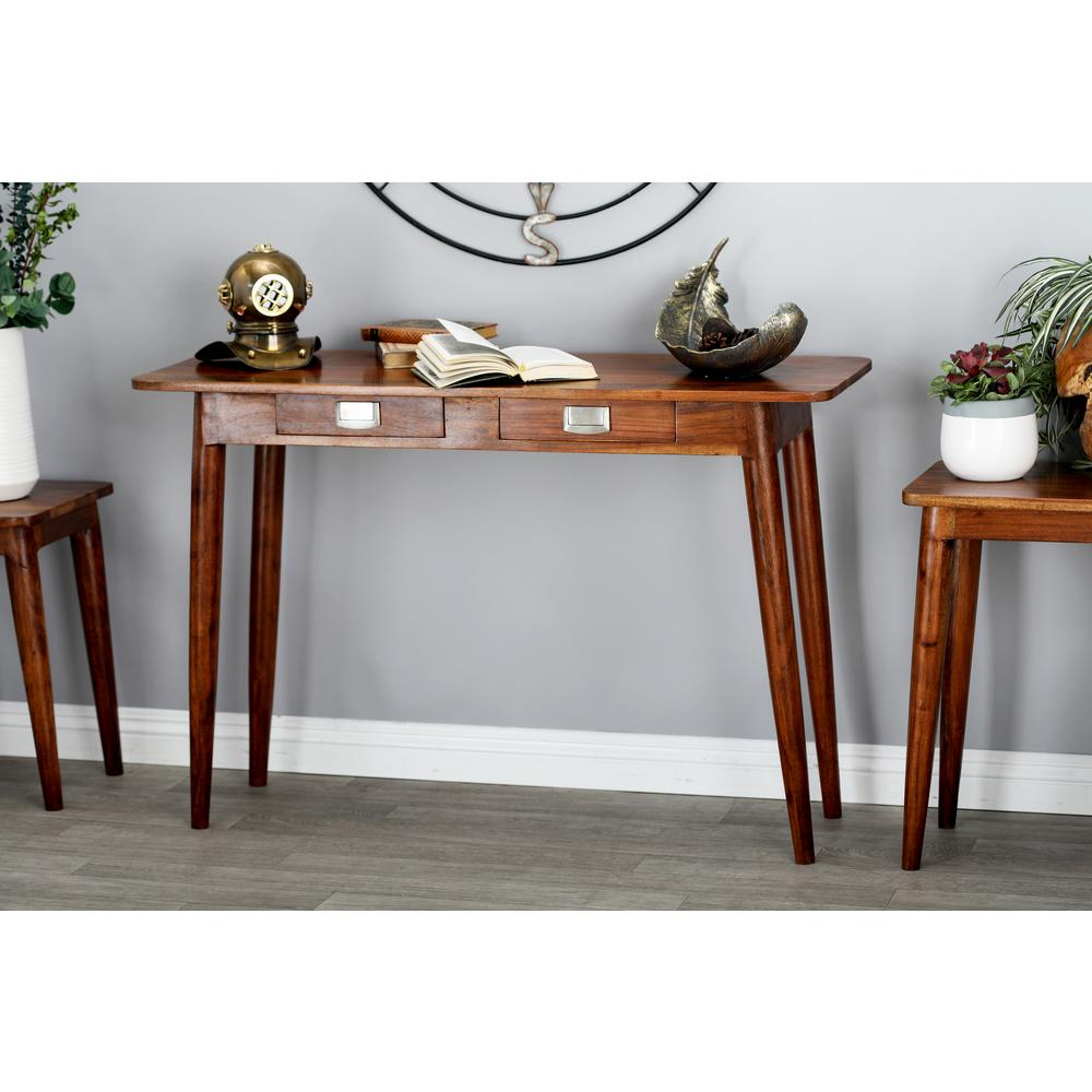Stained Brown Console Table with Drawers