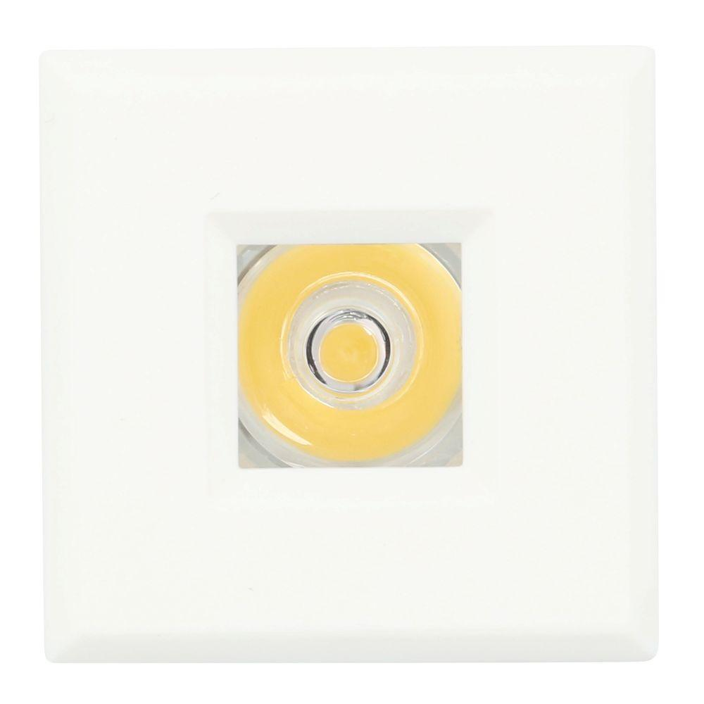 Mini Warm White Integrated LED Recessed Puck Light with Square White