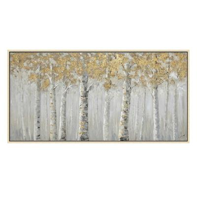 """""""Landscape White Birch Trees in. Champagne Wooden Floating Frame Hand Painted Acrylic Wall Art 55 in. x 28 in."""