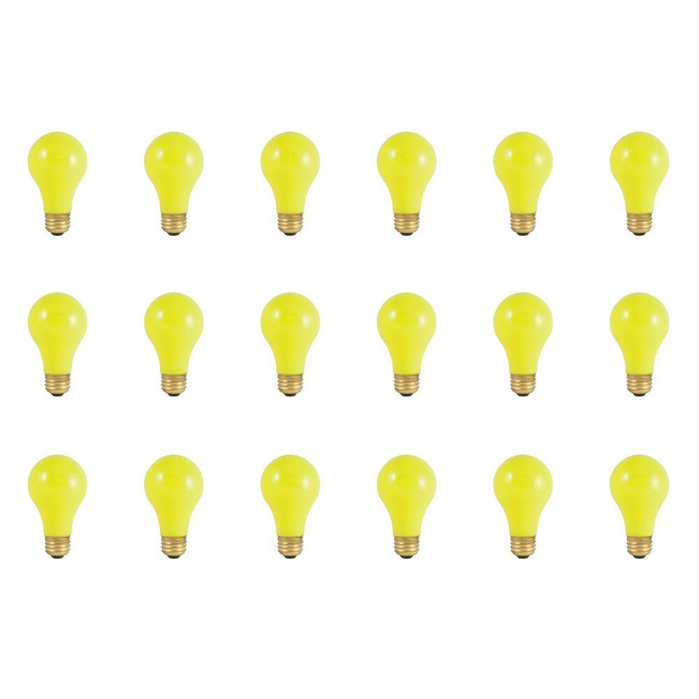 25-Watt A19 Ceramic Yellow Dimmable Incandescent Light Bulb (18-Pack)
