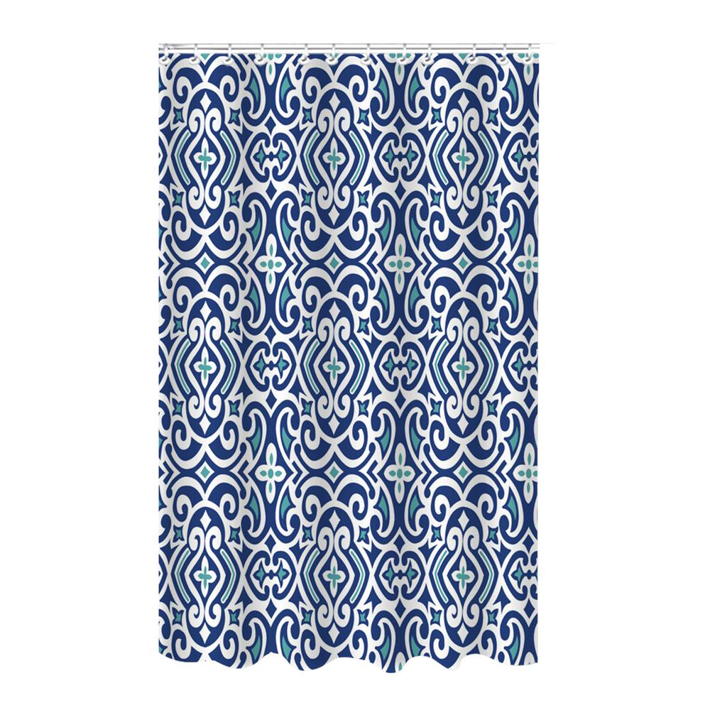 Bamboo 72 in. Blue Polyester Royal Shower Curtain