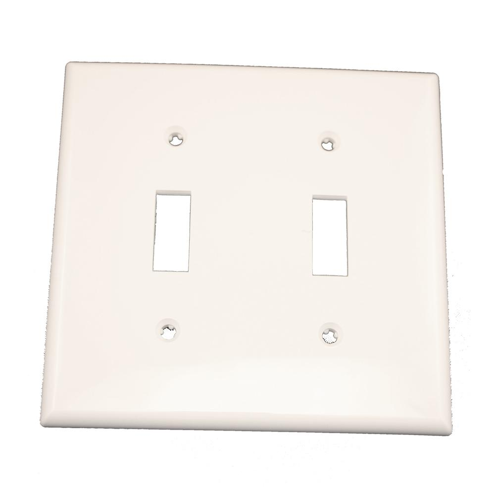 2-Gang 2-Toggle Standard Size Heavy Duty Nylon Wall Plate, White