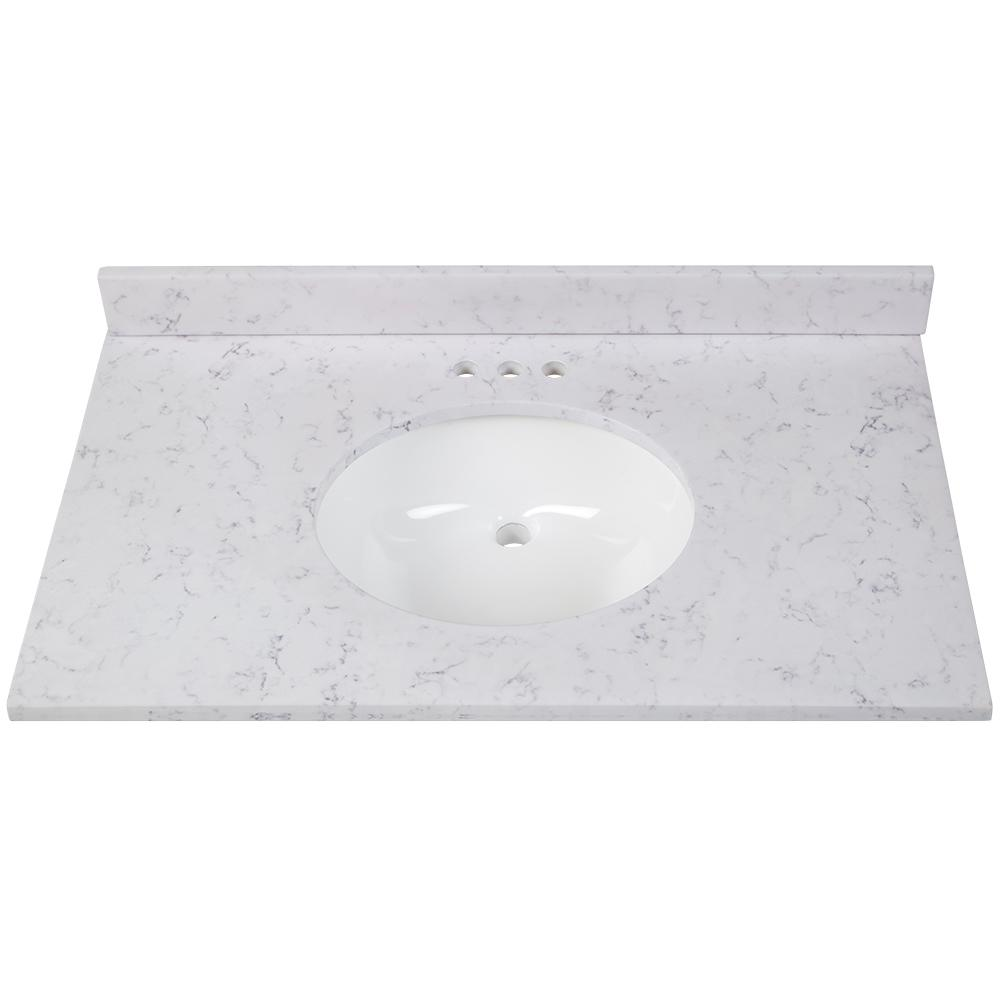 Home Decorators Collection 37 in  W x 22 in  D Stone Effects Vanity Top in  Pulsar with White Sink