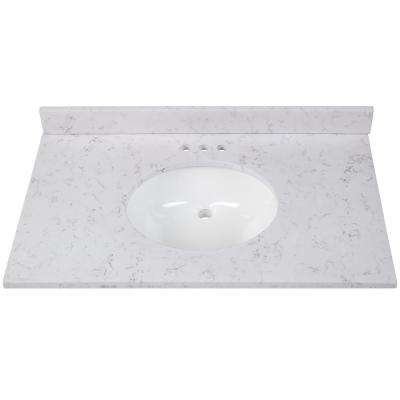 37 in. W x 22 in. D Stone Effects Vanity Top in Pulsar with White Sink