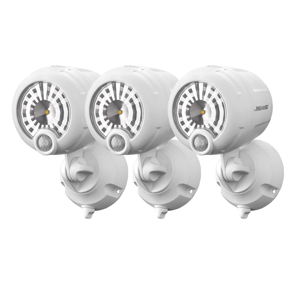 Mr Beams Wireless 120 Degree White Motion Sensing Outdoor Integrated LED Security Spot Light