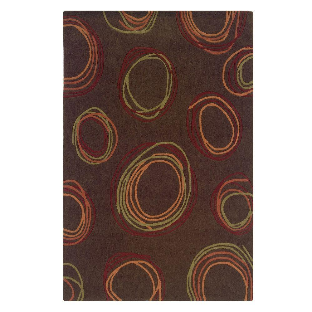 linon home decor trio collection chocolate and rust 5 ft x 7 ft indoor area rug rug ta08257. Black Bedroom Furniture Sets. Home Design Ideas
