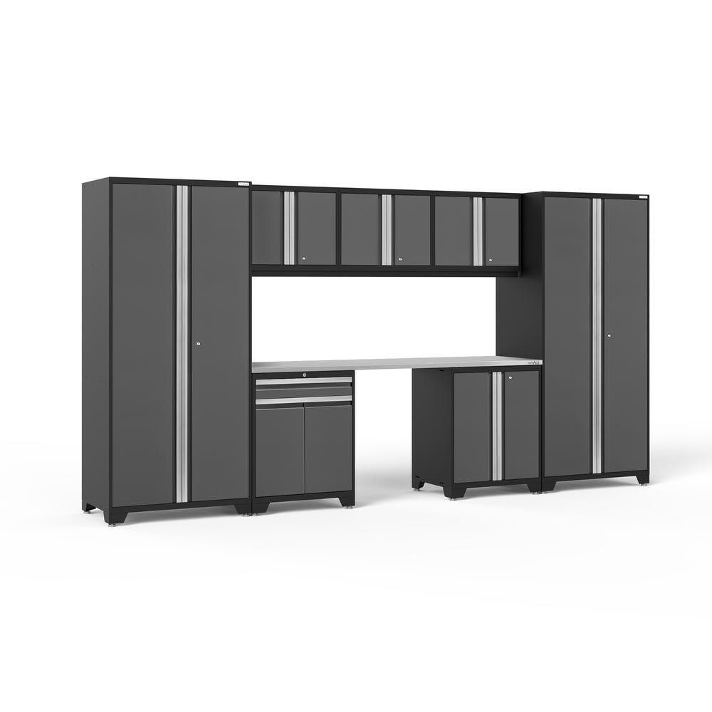 Pro 3.0 156 in. W x 83.25 in. H x 24 in. D 18-Gauge Welded Steel Stainless Steel Worktop Cabinet Set in Gray (8-Piece)