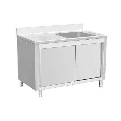 Freestanding Stainless Steel 64 in. Single Bowl Kitchen Sink on Right Backsplash Storage Cabinet